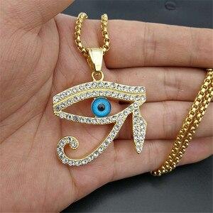 Image 1 - Ai Cập Mắt Của Horus Dây Chuyền Nữ/Đồng Hồ Nam Thép Không Gỉ Ác Mắt Vòng Cổ Đá Ra Bling Hông hợp Ai Cập Trang Sức