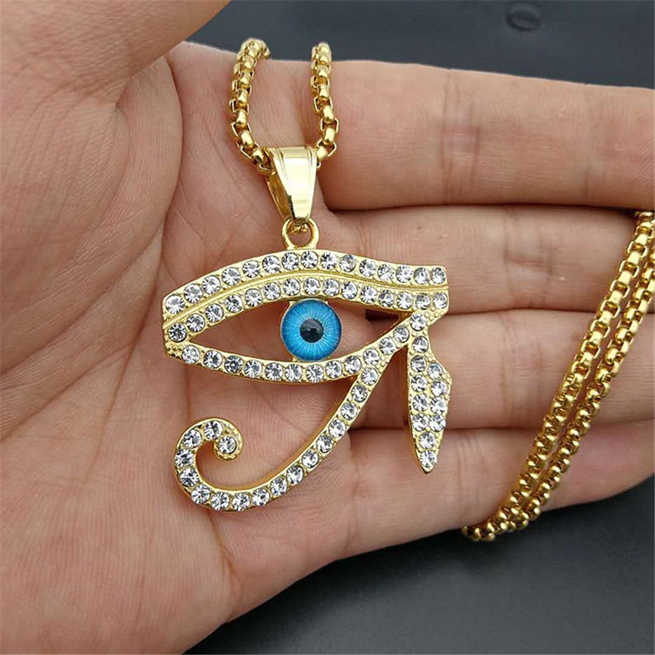 Egyptian The Eye of Horus Pendant Necklace For Women/Men Stainless Steel Evil Eyes Necklace Iced Out Bling Hip Hop Egypt JewelryPendant Necklaces   -