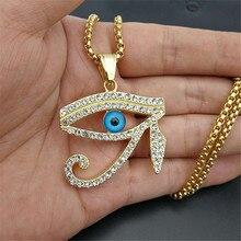 Mısır göz Horus kolye kolye kadınlar için/erkekler paslanmaz çelik Evil gözler kolye buzlu Out Bling Hip hop mısır takı