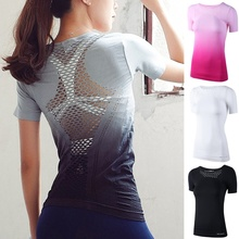 ZOGAA Hot Sale Women Sports Quick-drying T-shirt Splicing Mesh Tops Breathable Gym Workout Clothes Gradient Fashion