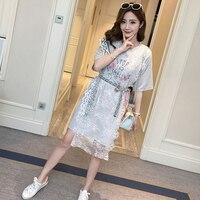 522 גרסה קוריאנית חדשה קיץ שמלת האביב של 2018 נשים בהריון שמלת הריון קיץ חולצה בסגנון ארוך