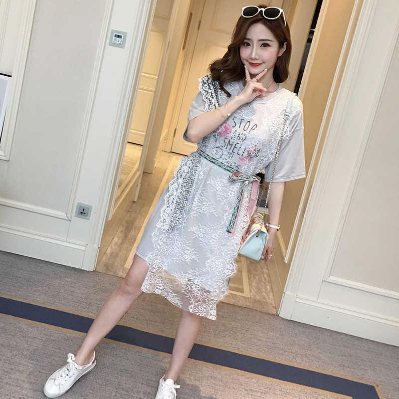 e5704101bfa 522 2018 беременных женщин Весна платье новый корейский вариант летняя  футболка летние платье для беременных длинная