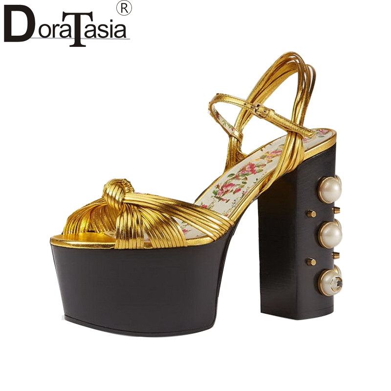 DoraTasia large Size 33-42 bead Women Summer Shoes Woman brand design Super High Heels thick Platform Wedding Sandals gold black phyanic 2017 gladiator sandals gold silver shoes woman summer platform wedges glitters creepers casual women shoes phy3323