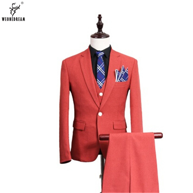 Jackets+Pants+Vest 3 Pieces 2018 Men Linen Suit Slim Fit Wedding ...