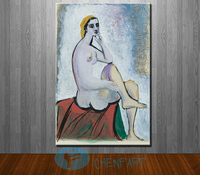 Modern Wall Art Painting Pablo Picasso Baigneuse Au Pouf Rouge Nude Famous Oil Painting On Canvas