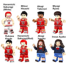 8pcs SLAM DUNK Mini Figures Hanamichi Sakuragi/Ryota/Takenori/Ayako Building Blocks Compatible With LegoINGlys Toys ABS 4.5cm(China)