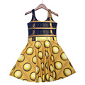 NEW 1196 Sexy Girl Women Summer Doctor Who Golden The Daleks tardis 3D Digital Prints Reversible Sleeveless Skater Pleated Dress