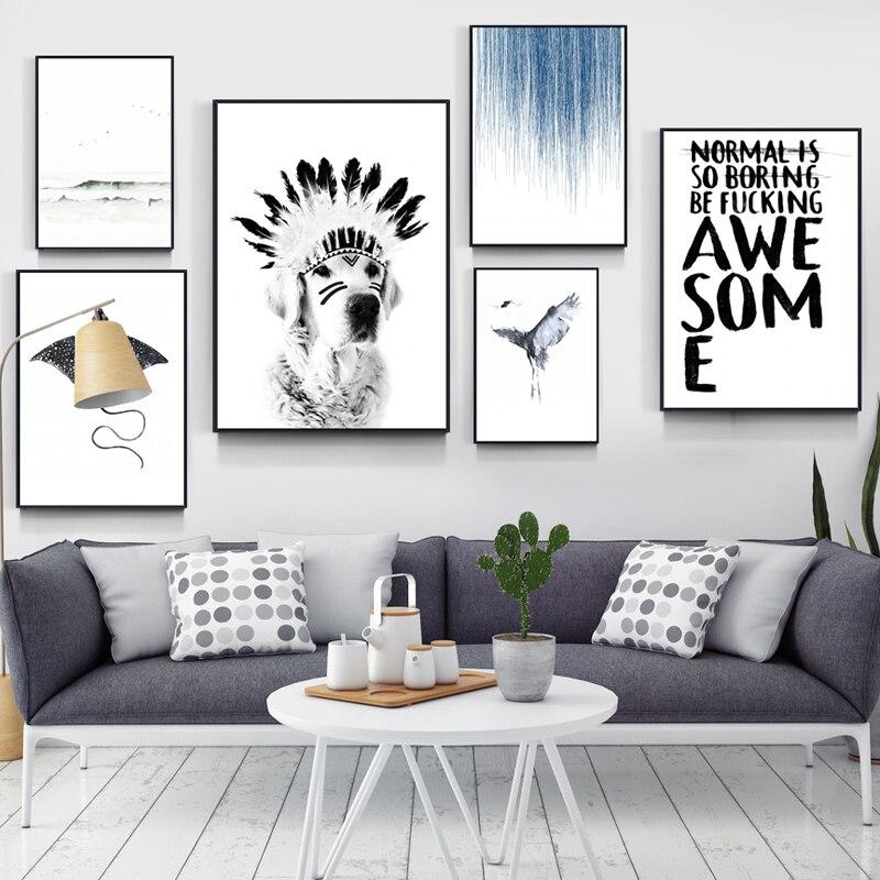 HD индейцев Стиль перо шляпа собака холст Плакаты и принты Home Decor Wall Книги по искусству фотографии для Гостиная ZY235