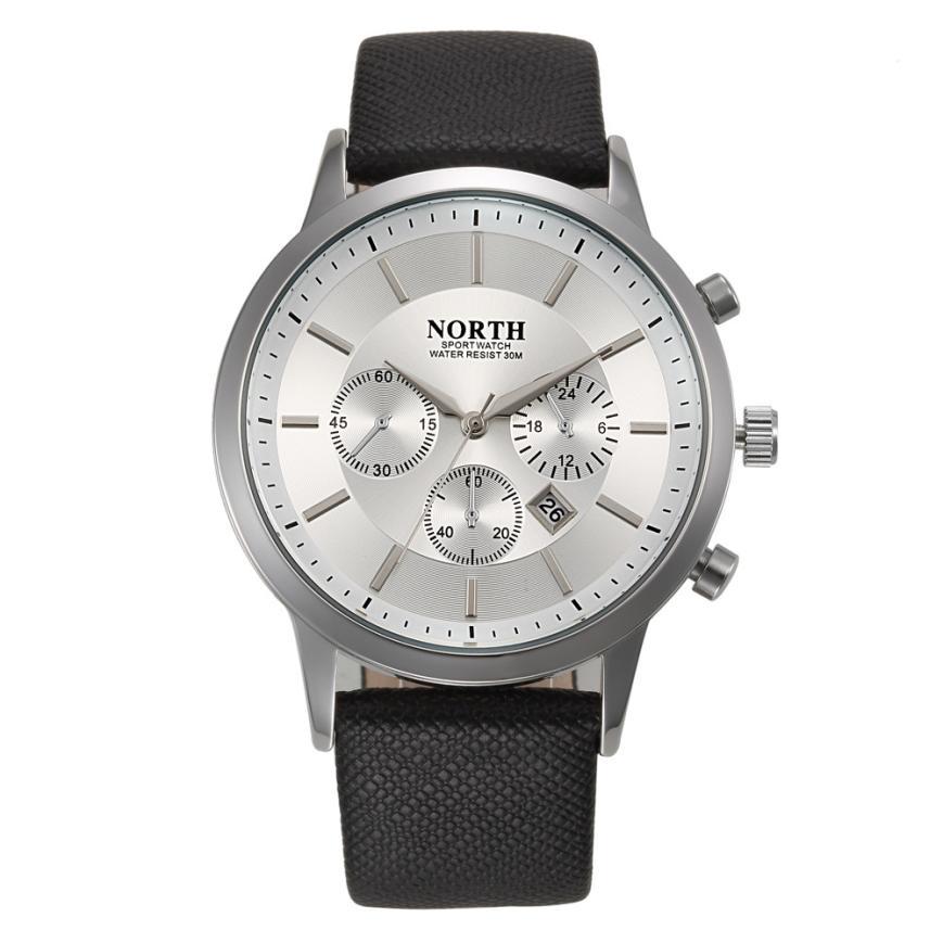 NORTH Sports Luxury Mens Genuine Leather Band Analog Quartz Watches Wrist Watch c30416 fabulous 2016 quicksand pattern leather band analog quartz vogue wrist watches 11 23