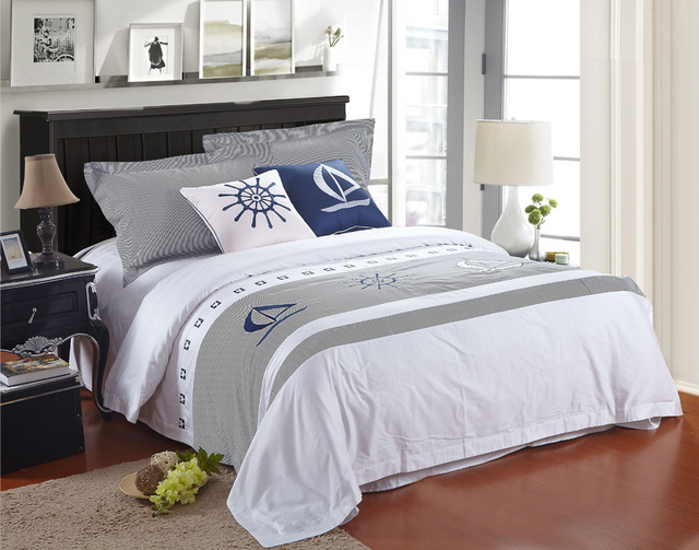 Cotton 6 Pieces Bedding Sets Queen King Hotel Duvet Cover White Sailing  Printed Bed Linens