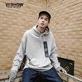 VIISHOW Men Hip Hop Hoodie Long Sleeve Streetwear Hooded Sweatshirt Mens Clothes Casual Light Grey Hoodie Plus Size XXL WDY1663