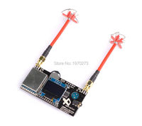 RX5808 Pro 5.8G 40CH Diversity FPV Receiver with OLED Display + RP SMA 4 Leaf Clover AV Transmission RHCP Antenna For Aomway