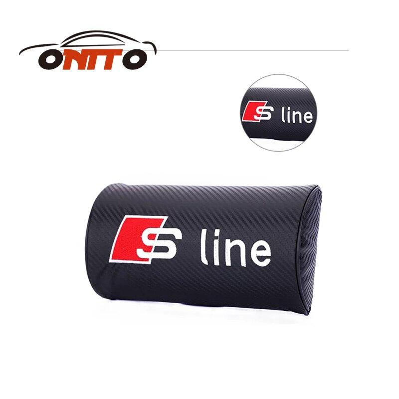 2 pcs/lot En Cuir de Carbone Sline Logo De Voiture reste protection Cou oreiller appui-tête sommeil pour Audi Kia Mazda Chevrolet Fiat voiture style