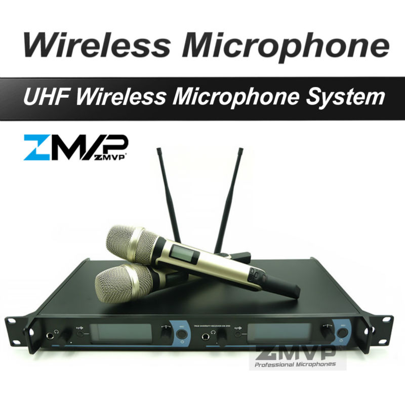 Free shipping! Professional UHF Wireless Microphone Karaoke System with Gold Color Dual Handheld Transmitter Microfone Mike Mic  professional wireless microphone system wr 208 dual mic with receiver mike for karaoke microfone sem fio microfono inalambrico