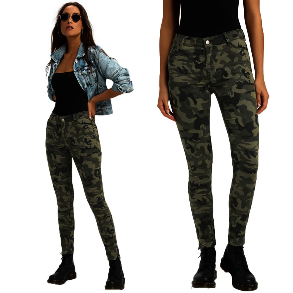 Camouflage   Jeans   Woman Fashion Mid Waist Slim Denim Skinny   Jeans   Ladies Vintage Military Pants Women Streetwear   jean   femme H30