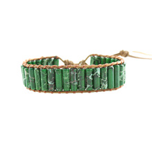 Leather Bracelets Green Natural Stones 1 Strand Wrap Vintage Beading Woven Statement Bracelet Dropshipping
