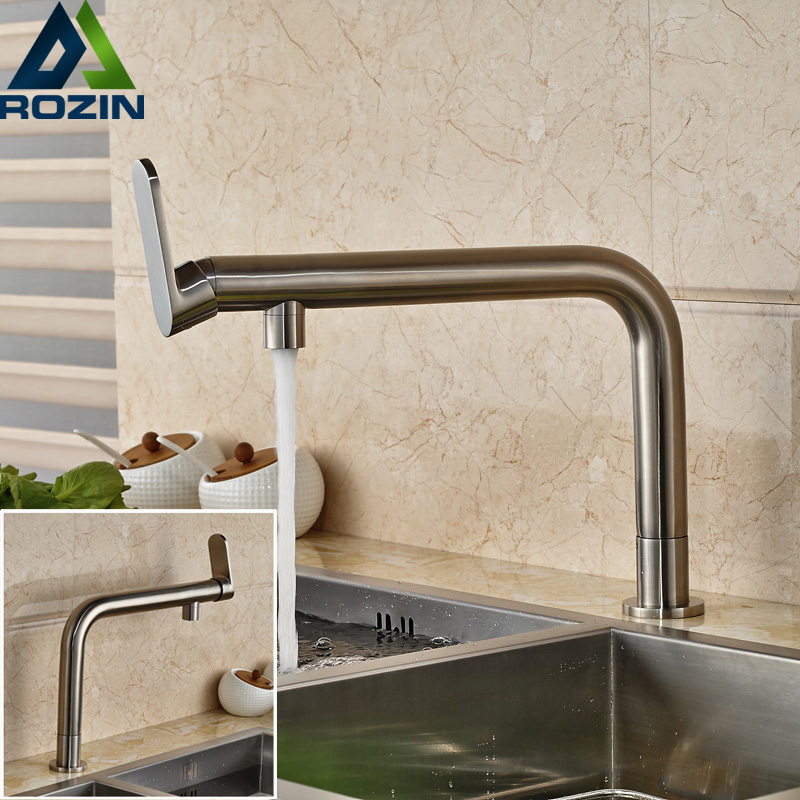 Brushed Nickel Deck Mounted Cold Water Faucet Long Spout Brass Kitchen Water Taps