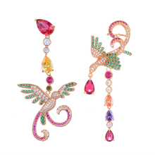 Siscathy Charms Geometric Phoenix Bird Full Cubic Zirconia Inlay Setting Trendy Night Out Party Anniversary Earrings Accessories