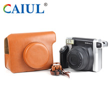 CAIUL Vintage PU Leather case bag for Fujifilm instax camera wide300 instant film camera compact case protect bag shoulder strap