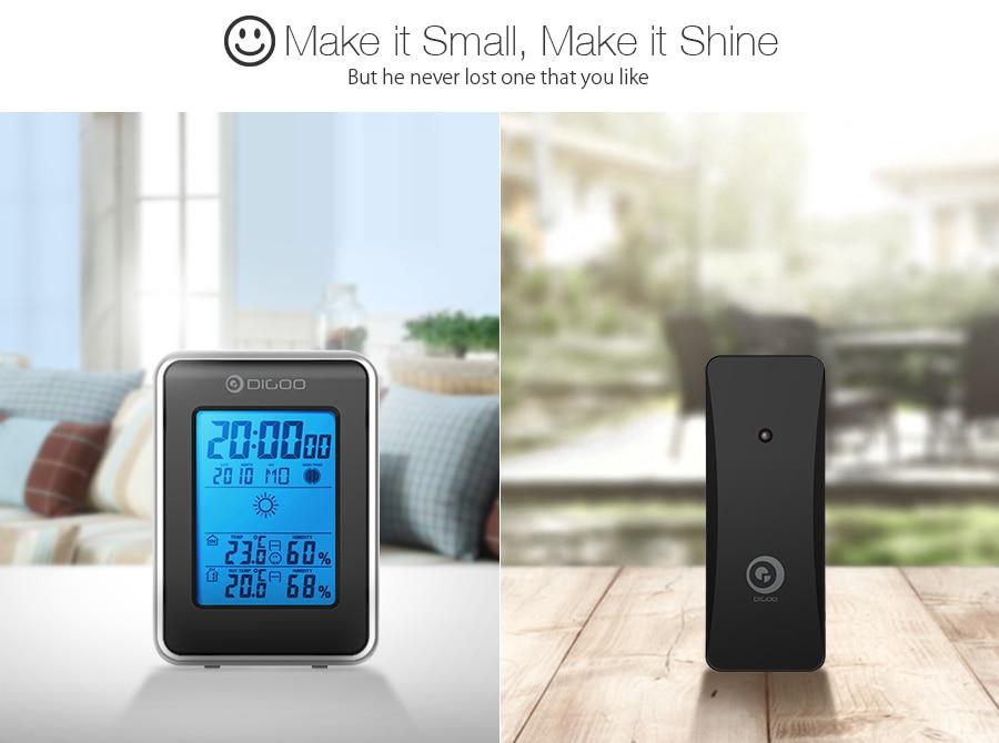 HTB1t981aynrK1Rjy1Xcq6yeDVXa9 Digoo DG-TH1981 LCD Digital Weather Station + Wireless Outdoor Forecast Sensor Hygrometer Thermometer Clock Blue Backlit