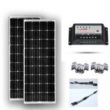 Kit Solaire 200W Panneau 100W 12v 2 Pcs /Lot Solar Charge Controller 12v/24v 20A Batterie  Camping Car Caravane