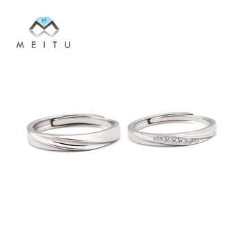 76b559f209a1 Real S925 de plata esterlina anillos de boda para los amantes AAA CZ anillo  de compromiso ajustable anillos