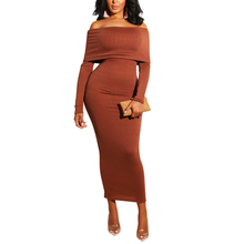 Slash neck Off The Shoulder Dress For Women Full Sleeve Mid-Calf Pencil Dresses High Stretchy Bodycon Dress Autumn цены