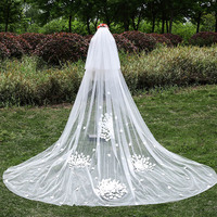 U SWEAR 2018 New In Women Flora Appliqued White Wedding Veils 2 Layers Cathedral Veil With Comb Bridal Veil For Wedding Dress