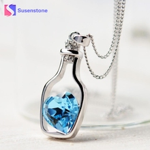 Amazing New Women Ladies Fashion Love Drift Bottles Crystal Chain Pendants Necklace Girl Gift