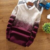 2019 Sweater Pullover Male Brand Casual Slim Sweaters Men Thicken Warm Gradient O Neck Sweater XXL