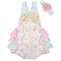 Wholesale Summer Infant Baby Sleeveless Cotton Boutique Romper Baby Girls Clothes Ruffle Romper With Headband GPF802