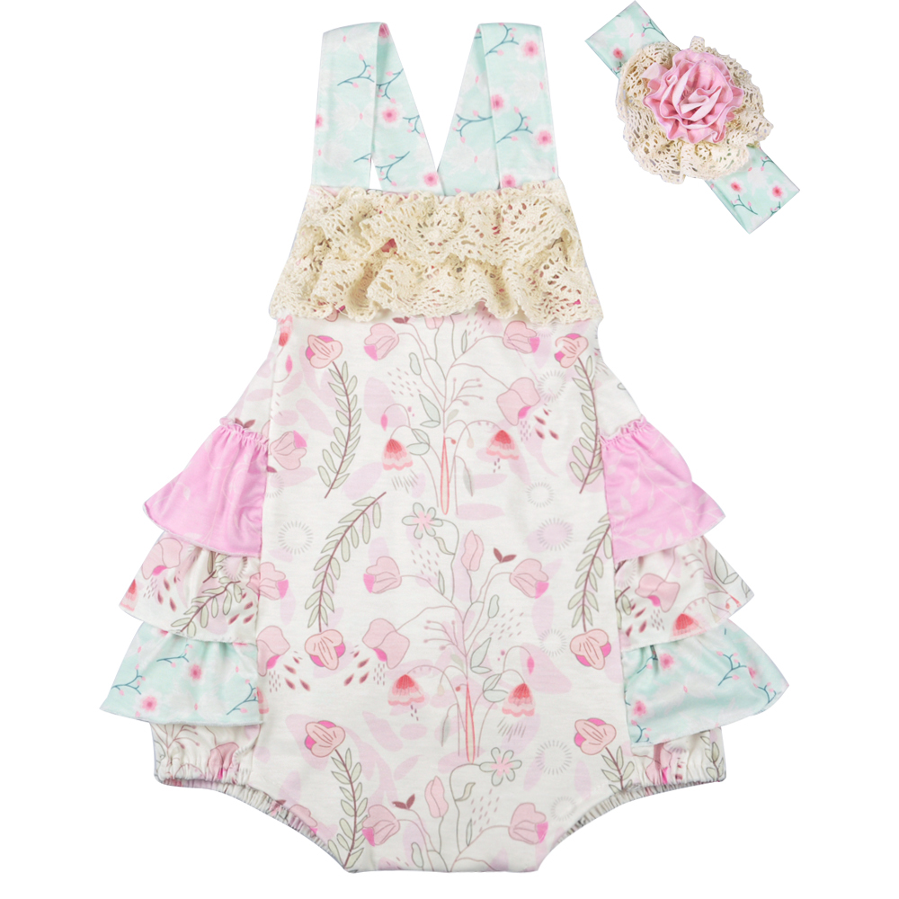 Boutique Baby Girls   Romper   Baby clothes Summer Infant Baby Sleeveless Cotton Clothes Ruffle   Romper   Without Headband