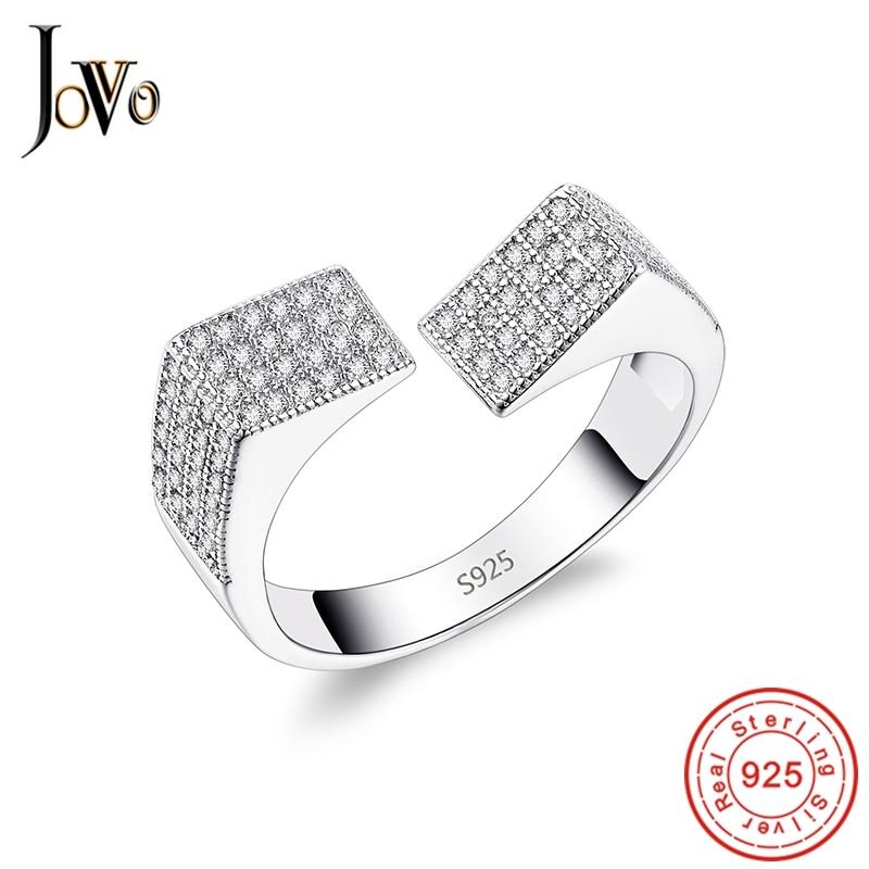 JOVO Romantic Jewelry 925 Sterling Gümüş üzüklər Zircon Qadın - Gözəl zərgərlik