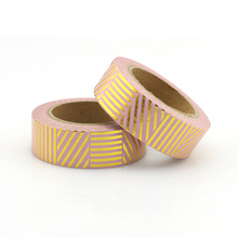 цена на 1 roll pink and gold foil Stripes Adhesive Tape Washi Tape Masking Tape 10m