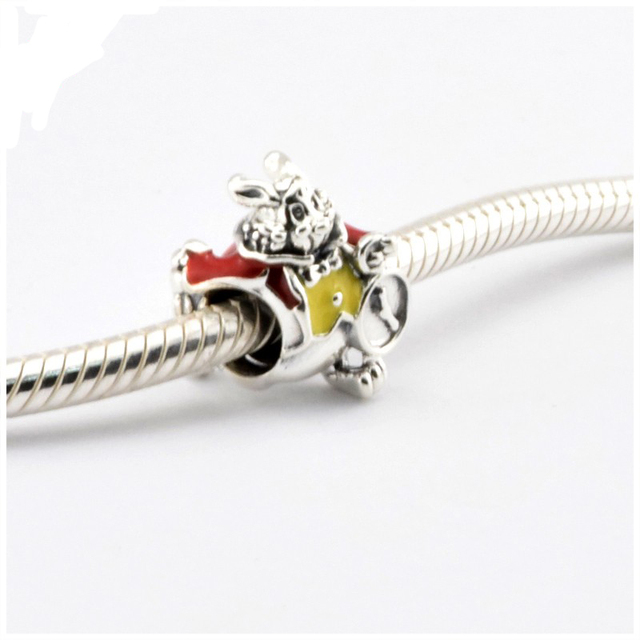 Fit Pandora Charms Silver 925 Original Bracelet DIY Rabbit Beads for Jewelry Making 2016 New Disny Sterling Silver Gift