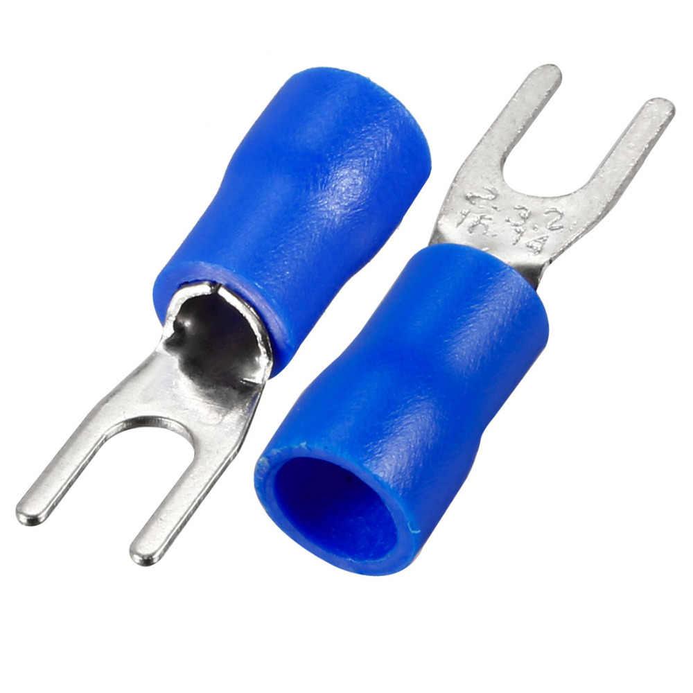Uxcell 95 шт./лот SV2-3.2 изоляцией синий вилы Spade u-тип мобильное радио VHF обжимной терминал для 16-14AWG 1,5-2,5 мм провода