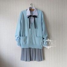 цена на Japanese school uniform suit set Water Blue Cardigan sweater + solid white long sleeve shirt + Dark gray Pleated skirt