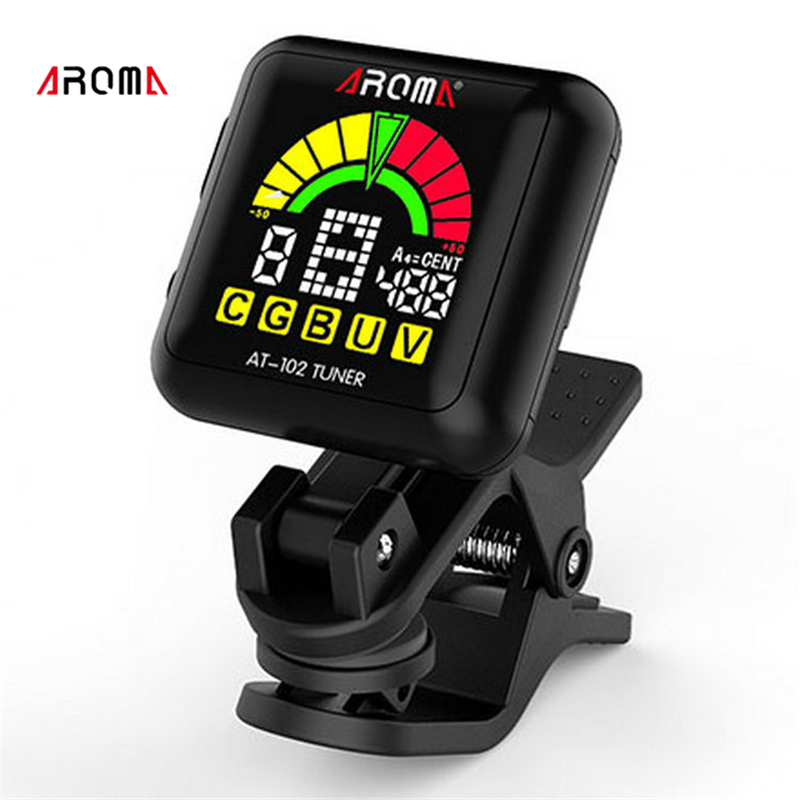 AROMA AT-102 Rechargeable Rotatab Clip On Guitar Tuner Portable Universal Digital Tuner for Chromatic Guitar Bass Ukulele Violin sews et33 portable guitar tuner color screen digital tuner clip on design for chromatic guitar bass ukulele violin free shipping