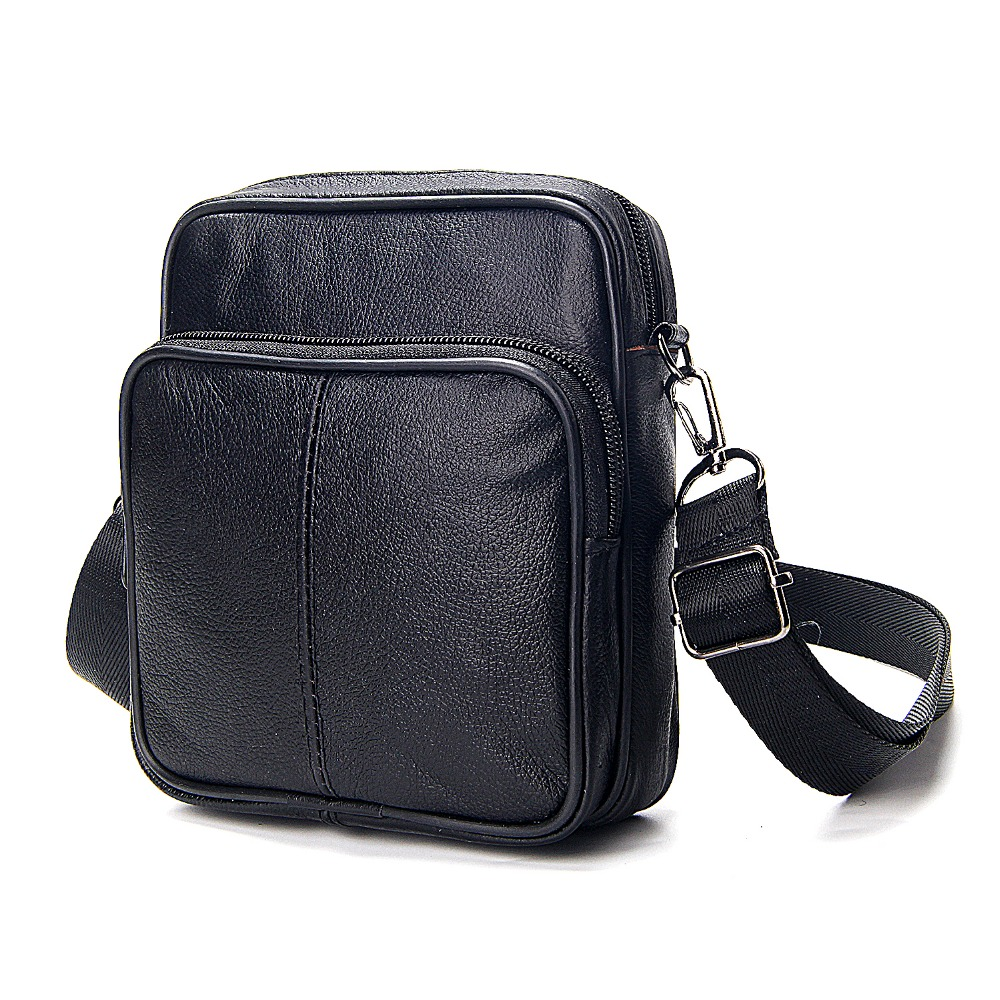 Crossbody-Bags Business Black Mini Male Single-Shoulder European-Style Men's Genuine-Leather