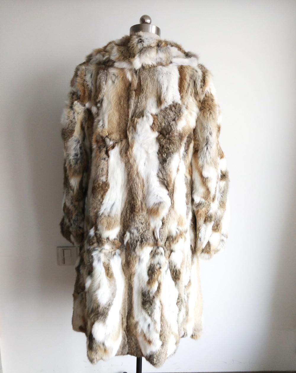2019 Turn Down Collar Plus Big Longer Size 1m Long Coat 100% Genuine Real Rabbit Fur Overcoat Women Warm Outwear SR130