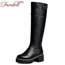 FACNDINLL winter shoes 2017 warm short plush snow boots women knee high boots square high heels black platform full leather boot