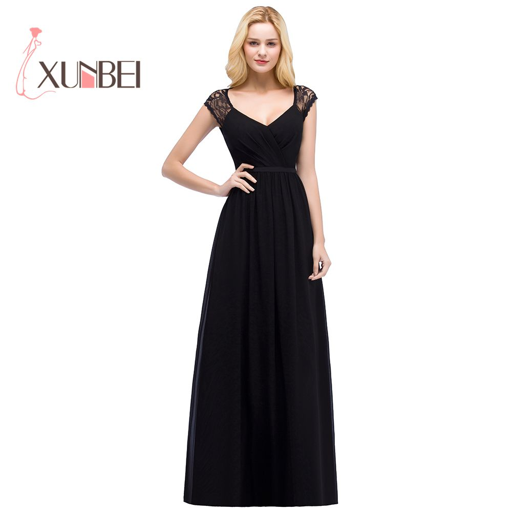 Robe de soiree Sexy Keyhold Back A Line Black Lace Evening ...