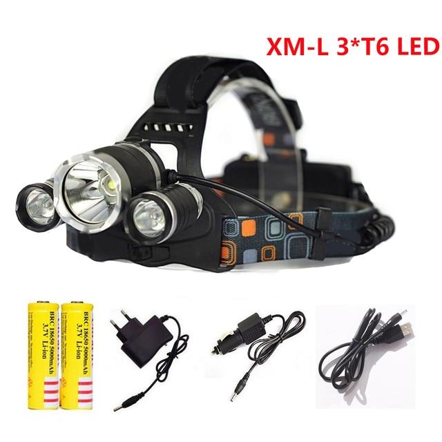 3T6 LED Headlight LED Headlamp 10000 Lumens CREE XML T6 Waterproof Head Light lamp 18650 Rechargeable Battery Flashlight Torch
