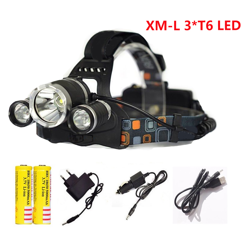 LED Headlamp 4-mode 3T6 Headlight 12000 Lumens XML T6 LED Waterproof Head Light lamp 18650 Rechargeable Battery Flashlight Torch ultrafire u 100 4 led 4 mode 2400lm white bike light headlamp black deep pink