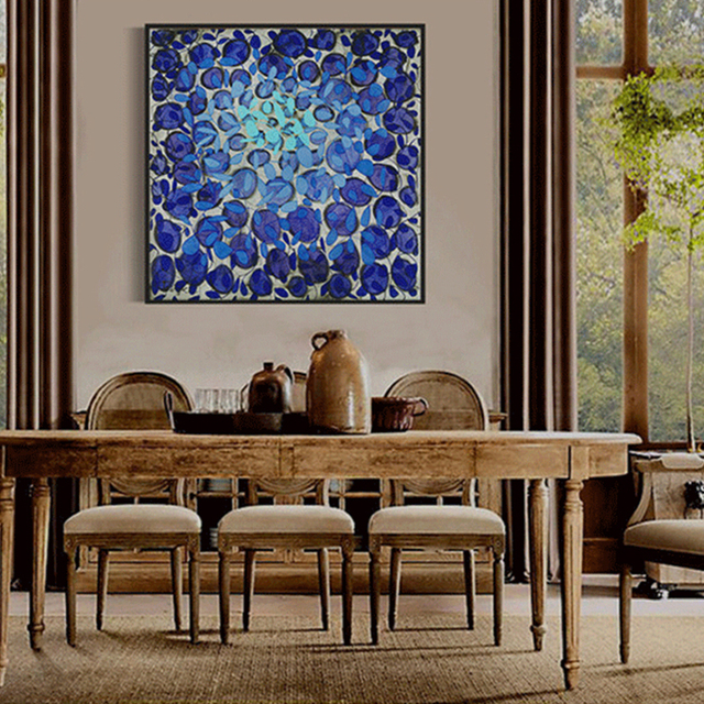 HAOCHU Royal Blue Gemstones Round Pattern Modern Abstract Wall Poster  Canvas Painting For Home Office Decor