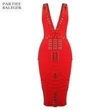 Новое летнее шикарное великолепное украшенное бусинами сексуальное платье без рукавов с глубоким v-образным вырезом с открытой спиной до колена праздничное платье-повязка знаменитости