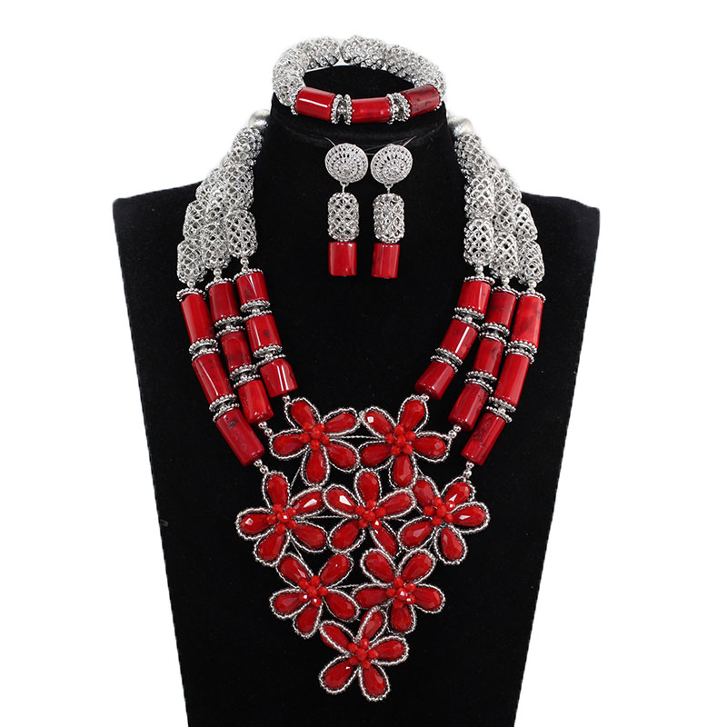 Handmade Flowers Real Coral Bead Women Natural Red Coral Bead Jewelry Set Bib Wedding Jewelry Set Silver Accessory JewelryABH784Handmade Flowers Real Coral Bead Women Natural Red Coral Bead Jewelry Set Bib Wedding Jewelry Set Silver Accessory JewelryABH784