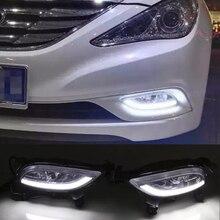 Hireno Voiture LED DRL Étanche ABS 12 V Feux de jour pour Hyundai Sonata 2011-13 Feu de Brouillard 2 PCS
