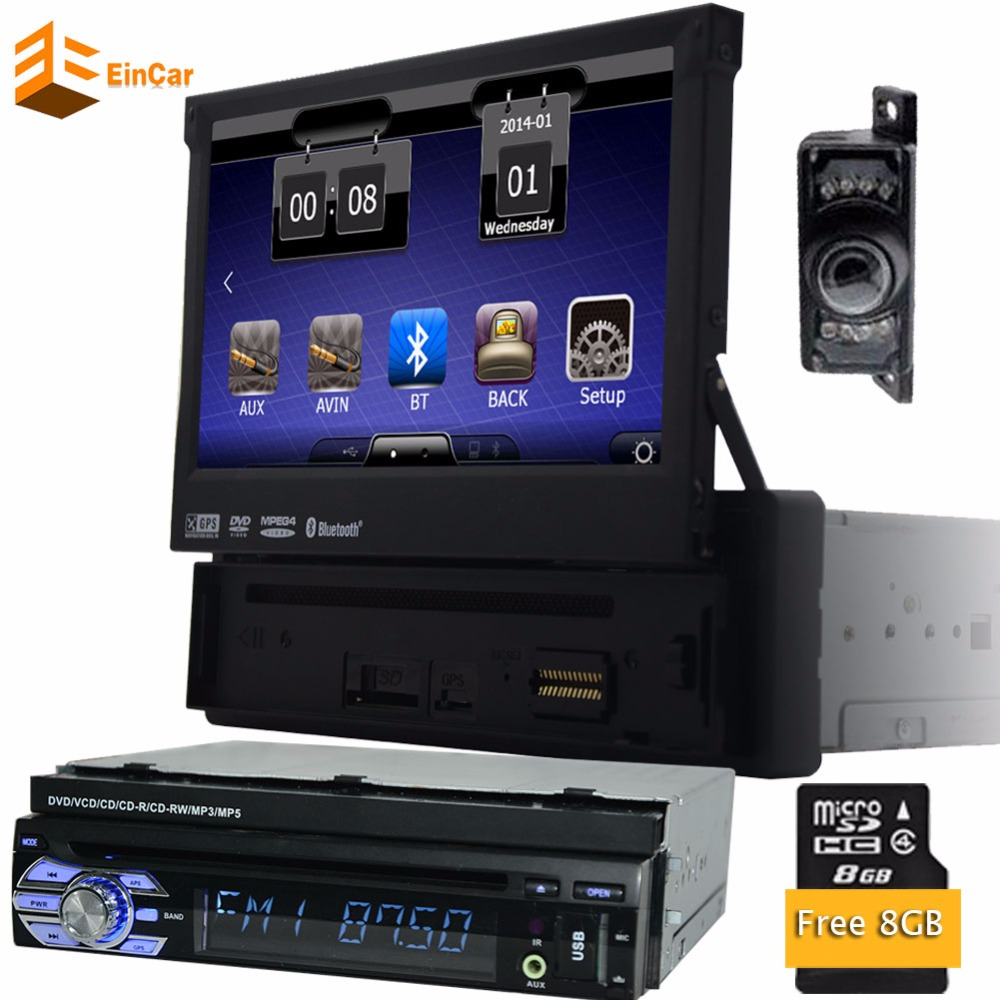 В тире 1 DIN автомобильные с GPS навигация 7 &#8221;аудио стерео <font><b>Bluetooth</b></font> Vedio pupug wince Бесплатная камеры 1 din dvd плеер