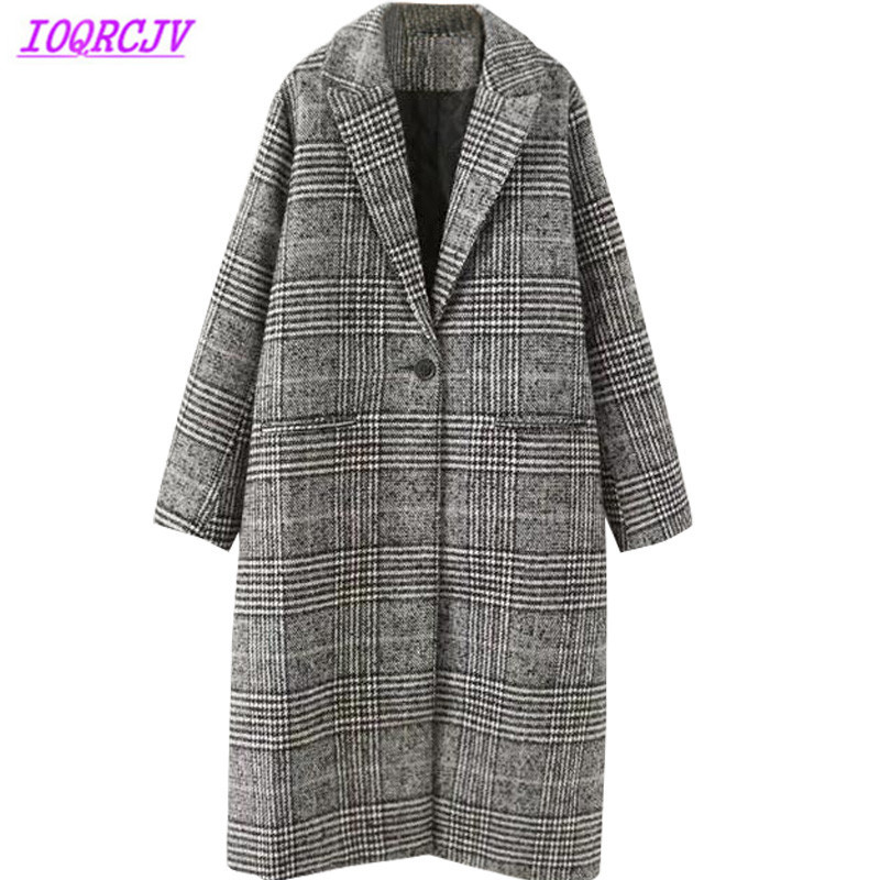 2018 Large size Wool Blends Jackets Women s Autumn and Winter Woolen Coats Plaid Quilted Cotton